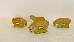 4 Putz Sheep Grazing Germany German Nativity Antique Toy Composition