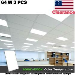 3 Pcs 64w Led Recessed Ceiling Panel Down Light Fixture Dimmable Spotlight