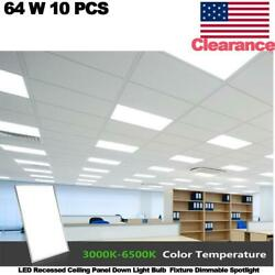 10 Pcs 64w Led Recessed Ceiling Panel Down Light Fixture Dimmable Spotlight