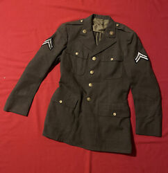 Wwii / Korean War Era Us Army Wool Dress Jacket Corporal With Medical Insignia