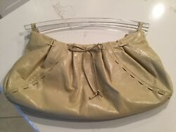 """Via Spiga Hobo Clutch Beige LEATHER Bow Detail Clear Lucite Handles 15""""x 7"""" $26.00"""