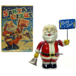 1950s Bell Ringing Santa In Box Tin Wind Up Toy Tn Japan Christmas Decoration