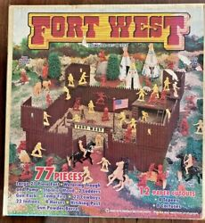 Large Tim Mee Toys Fort West Cowboys Indians Fortress Flag Horses Complete