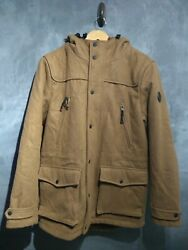 Mens Pull And Bear Wool Mix Brown Winter Coat With Detachable Lining Large