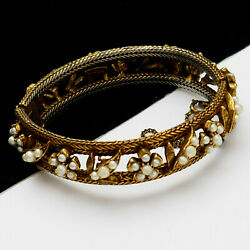 Vintage Florenza Marquise Faux Pearl Gold Plated Hinged Bangle Bracelet