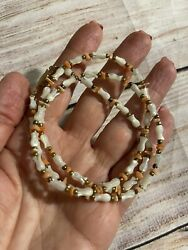 Vintage Mother Of Pearl And Coral Tulip Flower Necklace 24andrdquo Long. Lovely