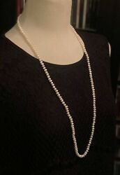 Vintage Fresh Water Pearl 32andrdquo Around Necklace Gold Tone Clasp.