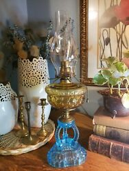 1930s Converted Antique Cathedral Queen Anne Rayo Oil Lamp In Blue And Amber Glass