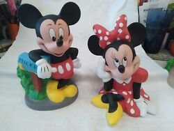2 Vtg Mickey Mouse And Minnie Mouse 8.75 Hard Plastic Piggy Banks Walt Disney