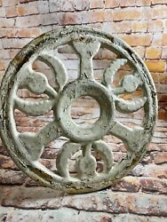 Antique Arts And Crafts Scottish Thistle Diecut Metal Milking Stool Plant Stand