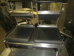  star  Star Gx20ig Double Commercial Panini Press W/ Cast Iron Grooved Plates