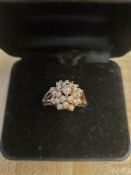 Antique Gold Plated Pearl Ring. Size 7