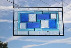 Turquoise And Blueandrsquos Beveled Stained Glass Window Panel-transom- 24 5/8 X14 1/2