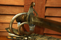 M1827 Civil War Confederate Unmarked Calvary Sword And Scabbard Original Leather