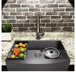 Farmhouse 33and039and039 Stainless Steel Under-mount Kitchen Single Bowl Apron Sink