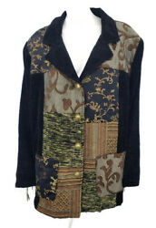 New Maggie Barnes Jacket Womens 3X Black Quilted Tapestry Coat