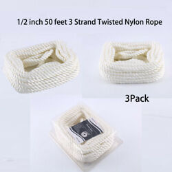 3pack 50 Ft 1/2 3 Strand Twisted Nylon Rope Boat Marine Dock Lines Mooring Rope