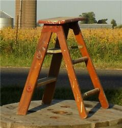 Red Wood Step Stool Chair Ladder Kitchen Rustic Country Seat Milking Vintage B
