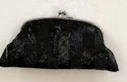 The Limited Evening Purse Clutch Bag Black Beaded Wristlet Kisslock Formal NEW $15.00
