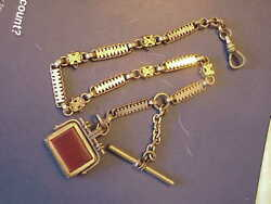 Gold Filled Spinning Agate Pocket Watch Chain And Fob 44 Granms 14 Inches +tbar