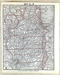 1916 Antique Railway Map The American Railroad Chicago Milwaukee Indianapolis