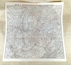1916 Antique Railway Map The American Railroad System New York Chicago Eastbound