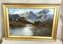 1935 Large Antique Oil Painting Mountain Landscape Francis Jamieson Framed