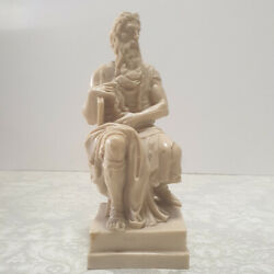 vintage Statue A. Santini Moses By Michelangelo Alabaster Sculpture Italy Made