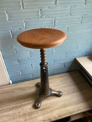 Antique Vintage Singer Stool Chair Cast Iron Industrial Swivel Original Sewing