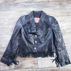 Ms. Pioneer Black Leather Jacket Western Tassles Buffalo Nickle Buttons Euc