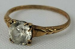Antique Baden And Foss 10k Gold Ring W/ Faceted Stone Diamond Size 6 Womenand039s