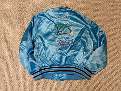 Menand039s Vintage 80and039s Waikiki Hawaii Satin Style Jacket In Blue White Size M