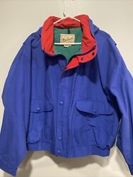 Vintage Woolrich Bomber Jacket Blue Red Menand039s Xl Euc Usa Rain Wind Proof