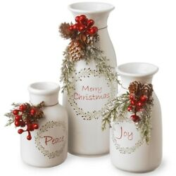 Christmas Holiday Antique Milk Bottles Set Of 3- 5, 6, 9 Rustic Decorations