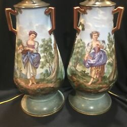Beautiful Pair Antique French Sevres Limoges Or Porcelain Table Lamps Signed