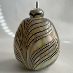 Vtg 1983 Maytum Studio Art Glass Pulled Feather Paperweight Oil Lamp