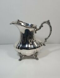 Vtg Lancaster Rose By Poole Silverplate Water Pitcher With Ice Lip Epca 401