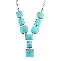 Santa Fe Style 925 Sterling Silver Turquoise Necklace Jewelry Size 36 Ct 1375