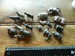 Ff10 Mixed Lot Of Vintage Lead Unnamed Farm Animals Sheep Horse Pig Some Broken