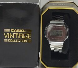 Casio Vintage A168 Mirror Finish Digital Stainless Steel Watch Model 3298 New.