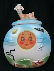 Rare Cookie Jar American Bisque Cow Jumped Over The Moon 806 Usa Vintage 40and039s
