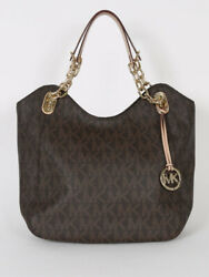 Mk Brown Tote Bag Purse Extra Large Handbag With Chain Straps