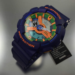 New Casio Menand039s Ga110fc-2a Blue Resin Quartz Watch With Green Dial