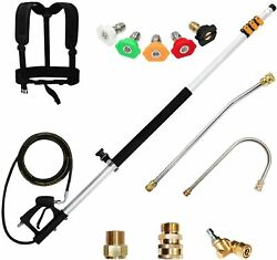 19 Ft Telescoping Lance High Pressure Washer Extension Wand 5 Spray Nozzle Tips