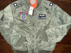 Polo Ma-1 Patch Bomber Military Combat Jacket Army Olive Size L New