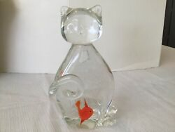 """Vintage Cat Figurine W Colorful Red Orange Fish inside Art Glass Paperweight 6"""""""