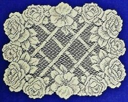 Two 14 X 19 Lace Place Mats Ecru Trellis Of Roses Livingroom Dining Room