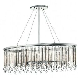 6 Light Oval Chandelier - 13.5 Inches Wide Chrome Finish With Clear Glass -