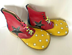 Vintage Leather Circus Clown Shoes Big Top Star Design Red White Blue Yellow