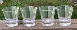Crown Royal Low Ball Rocks Glasses Tapered Vintage Italy Glass 3.5 Tall 4